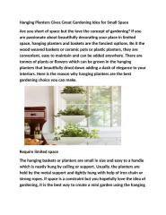 Hanging Planters Gives Great Gardening Idea for Small Space.docx