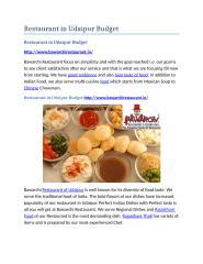 Restaurant in Udaipur Budget.docx