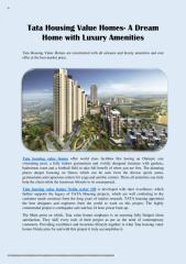 Tata Housing Value Homes- A Dream Home with Luxury Amenities.pdf